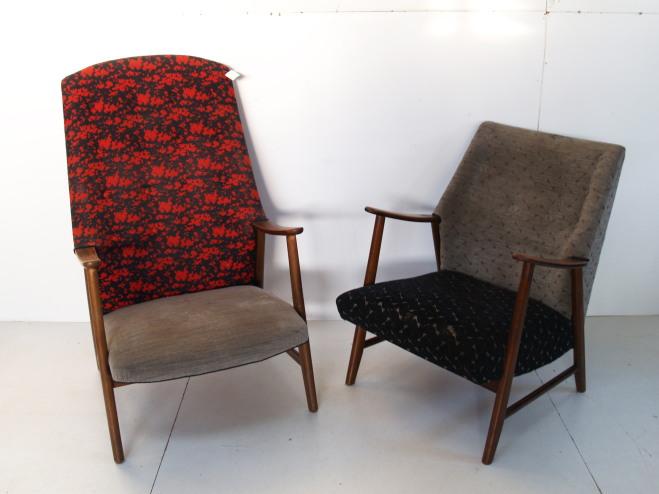 designer lænestole brugt 50'er designede lænestole originalt betræk uld uopskåret mekka. designer lænestole brugt
